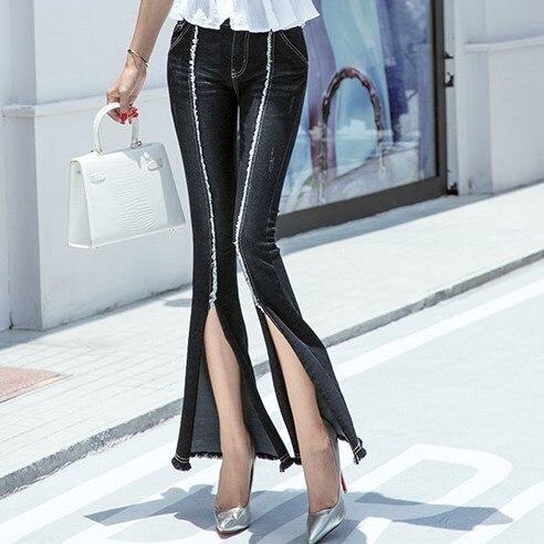 Women Flare Jeans Vintage Style Bell Bottom Skinny Jeans Woman Black Wide Leg Denim Long Pants Young Lady Sexy Split Leg OpenОдежда и ак�е��уары<br><br><br>Aliexpress