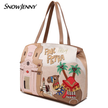 SnowJenny SJ Brand Women Shoulder Bag Female Messenger Bag Handbags Totes Braccialini Handicraft Design Art Cartoon Camel Castle