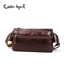 Cobbler Legend Genuine leather men's purse retro trend of chest pack first layer of cowhide leather casual messenger chest bags(China)