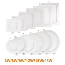 Ultra thin LED Panel Light Recessed LED Ceiling Light Spot Down Light with driver AC85-265V Warm White/Natural White/Cold White
