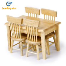 LeadingStar 5pcs Wooden Dining Table Chair Model Set 1:12 Dollhouse Miniature Furniture Great Children Gift Primary Wooden zk20