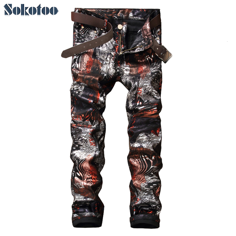 Sokotoo Men's fashion slim 3D print shinny coated pants Casual painted long trousers