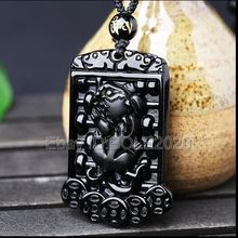 free shipping Natural Black Obsidian Hand Carved Chinese Lucky PiXiu Abacus Pendant + Necklace