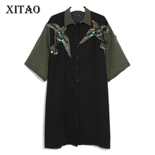 [XITAO] 2017 Summer Fashion Europe Female Short Sleeve Embroidery Turn-down Collar Sequined Patchwork Knee-length Dress TXN085