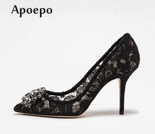 Buy Apoepo Fashion Rhinestone Pumps Crystal Embellished Pointed Toe Lace High Heels Woman Slip-on Wedding Heels Thin Heels Shoe for $61.88 in AliExpress store