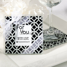 NEW ARRIVAL Geometric Pattern Photo Coaster Glass Favors(2pcs/set)+150sets/LOT+FREE SHIPPING