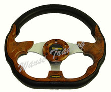 Sale Universal 320mm PU Leather Racing Sports Auto Car Steering Wheel with Horn Button 12.5 inches Wooden