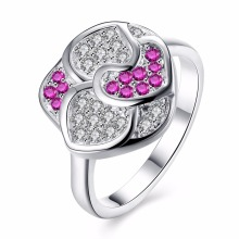 Flowers charms purple red crystal finger wear 925 silver Rings nice gift box free for Anniversary Party Fashion 2017 New Rings(China)