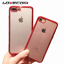 LOVECOM For iphone 6 6S 7 8 Plus X Phone Case Transparent Ultra-Thin Waterproof Electroplating Soft TPU Back Cover Shell Coque(China)