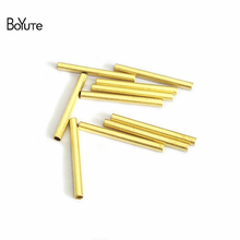 BoYuTe 200Pcs 4 Colors 20*2MM Brass Jewelry Materials Thin Metal Tube DIY Jewelry Accessory Parts