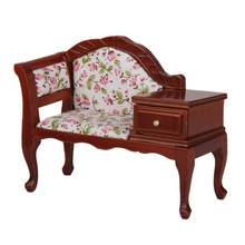 MYMF Best Sale 1/12 Dollhouse Miniature Furniture Wooden Floral Recliner with Drawer(China)