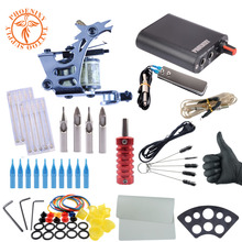 Complete Tattoo Kit One Machine Set Black Power Supply Needles Permanent Make Up Professional Tattoo Kit Set(China)