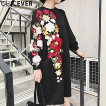 CHICEVER Embroidery Floral Sweatshirt Dress Women Fall 2017 Long Sleeve Big Size Black Knee Length Dresses Female Loose Casual