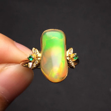 Fine Jewelry 18.4*16.6mm real 18K ring Gold Top grade natural opal ring for women fine jewelry fine rings(China)
