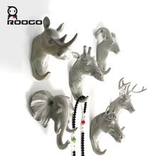 Roogo resin animal head crafts robe hooks bathroom wall hanging decoration clothes handbag key hanger wall hook(China)