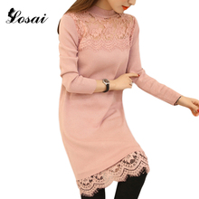 Autumn Winter Knitted Dress 2017 Fashion Lady O-Neck Casual Bodycon Casual Dresses With Lace Plus Size Long Sleeve Pink / Black
