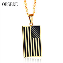 OBSEDE Fashion Men Necklace America National Flag Pendants Stainless Steel Necklaces For Men Jewelry Punk Necklaces Accessories(China)