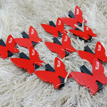 10PCS/LOT New Cute Red Butterfly design Wooden Clip Mini Bag Paper Clip Christmas DIY tools Fashion Special Gift