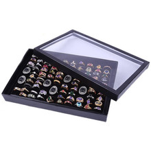 Black White Organizer Show Tray Case Jewelry Display Velvet Multi Slots Rings Storage Boxes Top Glass Holder Organiser(China)
