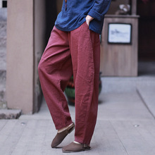 Women Spring Summer Elasitc Waist retro Loose wide leg pants Ladies Vintage Cotton Linen Pants Solid Color Trouser For Female