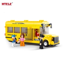 MTELE Brand Assembled Building Blocks Mini School Bus toy Children Educational figures toys High Quality With PVC BOX
