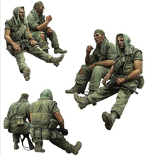 Unpainted Kit 1/35 Vietnam war American soldiers rest figure Historical WWII Figure Resin Kit Free Shipping(China)