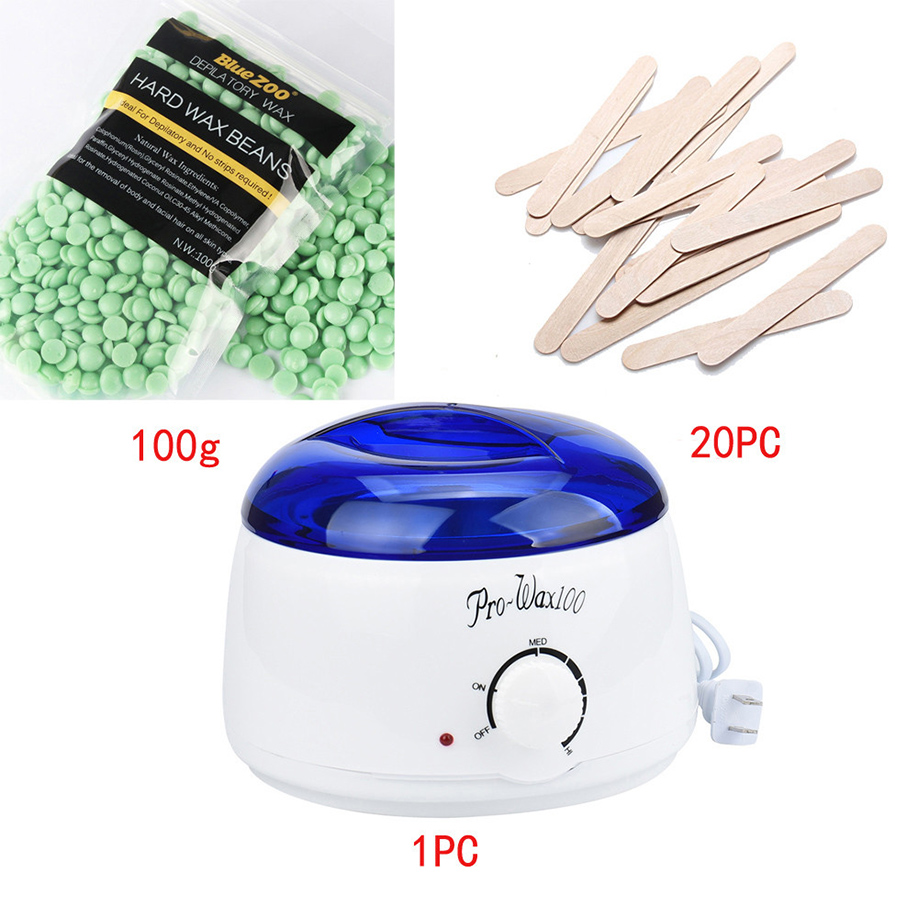 GUJHUI Green hair removal depilatory cream tea tree Hair Removal Bean Wiping Sticks Hot Wax Warmer Heater Pot Depilatory Set I<br>