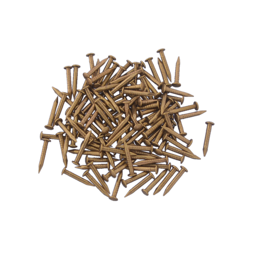 12X1.5MM Chinese Archaize Round Head Gold Antique Pure Copper Bronze Wooden Nails for Furniture DIY Decorative Boxes 500pcs