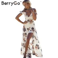 Berrygo babados impressão floral chiffon maxi vestidos strap v neck dividir beach summer dress sexy backless mulheres dress longo vestidos