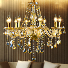 European style led crystal chandelier living room lobby lamps for bedroom restaurant clothing shop amber retro luxury lighting(China)
