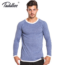 Taddlee Brand Long Sleeve T Shirt Men Solid Color Soft O Neck Sweatshirt Basic Active Stretch Apparel Hip Hop Street Casual Top(China)