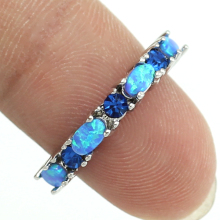 2017 New Style Unusual Blue Fire Opal Crystal Fashion Jewelry Women Rings Free Shipping Size 5 6 7 8 9 10 11 12 OR822(China)