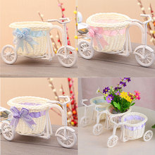 Flowers Tabletop Vase Round Basket Wheel Rattan Tricycle Decorative Flower Vases Wedding Decoration HG99
