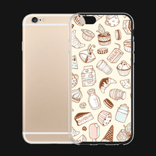 All Kinds of Sweets and Desserts Fun Art For iPhone 6 6s 7 Plus Case TPU Phone Cases Cover Mobile Protection Decor Gift