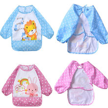 Cute Unisex Baby Waterproof Long Sleeve Children Kids Feeding Smock Bibs Apron(China)