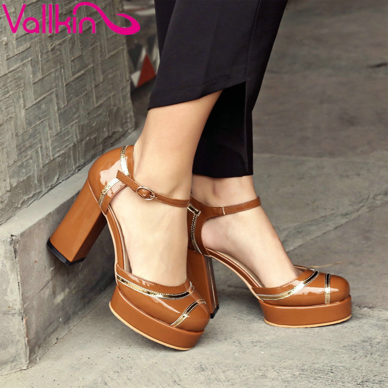 VALLKIN 2017 Square High Heel Shoes Ankle Strap Patent Leather All Match Women Pump Round Toe Women Ladies Shoes Size 34-42<br>
