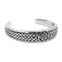 Classic Celtic Knot Bracelet Stainless Steel Jewelry Punk Claddagh Style Silver Motor Biker Women Men Bangle Wholesale(China)