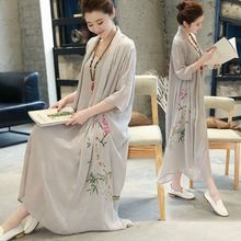 2017 New Fashion Summer Women Dress Fake two Chinese Robes Vintage Print Long Sleeve Dress Plus Size Linen Dress(China)