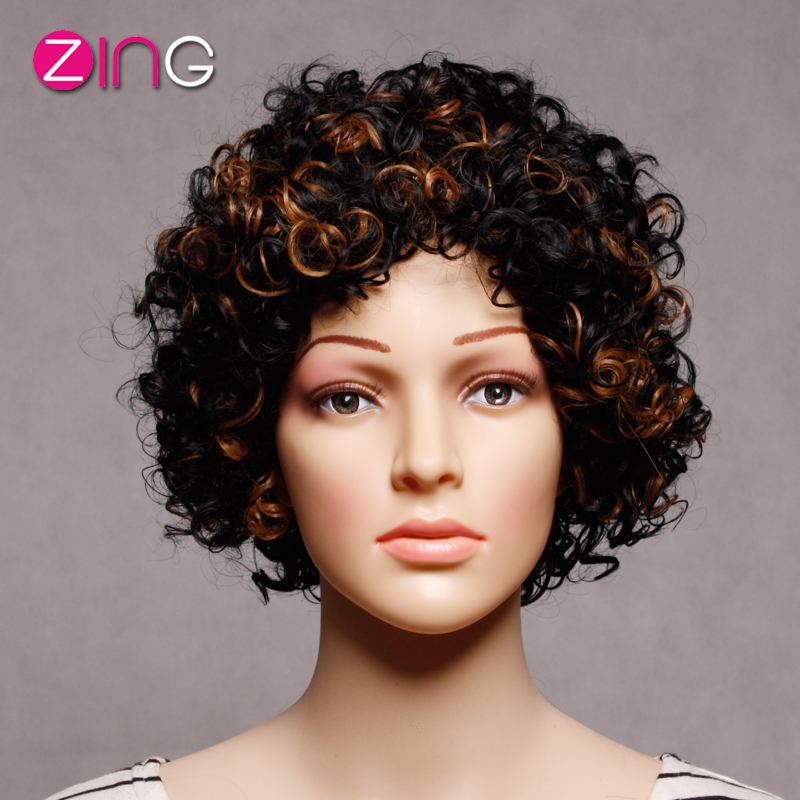 Afro Kinky Color Synthetic Wigs For Women Black And Brown Mixed Color Short Wigs For Black Women Perruque Synthetic Women<br><br>Aliexpress