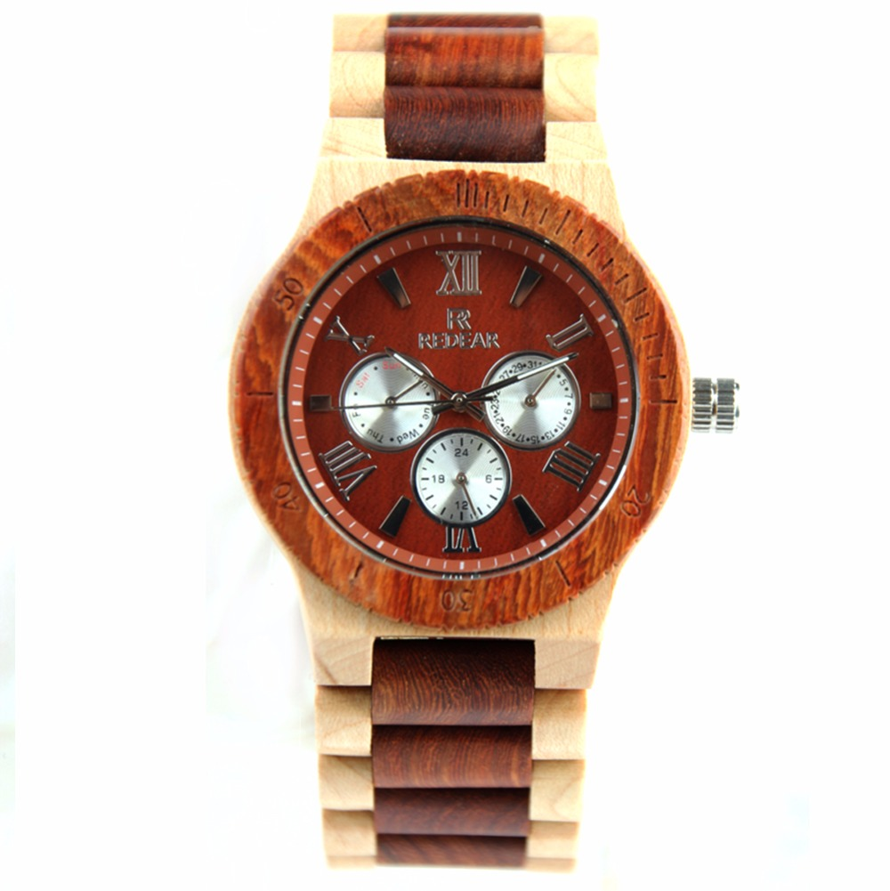REDEAR Fashion Mens Wood Watch Six Needle Sports Watch High Quality Japan Movement Quartz Wristwatches<br>