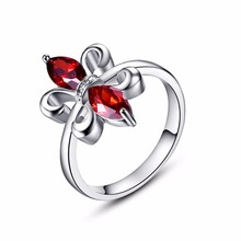 Luxury Royal Garnet Rings for Women Silver Nickel & Lead Free Fashion Party Band Jewelry Red Crystal Rings USA Size 6 7 8 9 10(China)