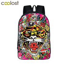 Cool Tattoo Tiger Head Backpack For Teenage Young men Women Travel Backpack Casual Shoulder Bag Boys Girls Children School Bags(China)