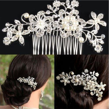 Floral Wedding Rhinestones Pearl Hair Pins Flower Crystal Hair Clips Bridesmaid Head Jewelry Silver Color Bridal Hair Comb