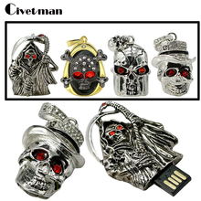 Retail 4gb 8gb 16gb 32gb metal silver skull head skeleton Usb drive crystal death shape USB 2.0 flash drive memory pen disk gift(China)
