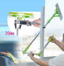 New glass window cleaning tool Telescopic rod cleaning window device Double side glass scraper wiping(China)