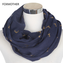 FOXMOTHER 2017 New Design Women Metallic Moose Deer Stag Head Infinity Scarf With Rose Gold Foil