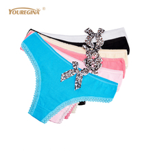 Buy YOUREGINA Women Thongs G Strings Sexy Tanga Cotton Cute Leopard Bow Print Lace Panties Briefs Ladies 6pcs/lot