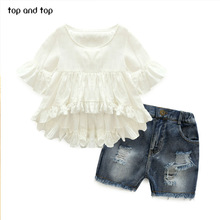 Top and Top High Quality New Fashion Girls Clothing Kids Clothes Fairy Style Cotton Flounced Sleeves Casual Coat Jeans