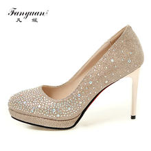 Fanyuan Sexy Women s Pumps Glitter Shoes 9cm Silver Gold Women Wedding  Party Club Heels Slip-On Ladies High Heels Stiletto Shoes f9747d8b486b