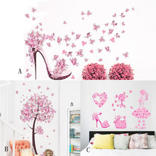 2017 New Creative Butterfly Flower Fairy Stickers Bedroom Living Room wall stickers for kids rooms home decoration accessories(China)